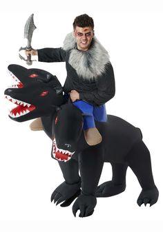 Adult Evil 3-Headed Dog Ride On Inflatable Costume