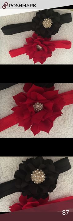 Christmas and Holiday Infant Headbands Super cute pointsettia and black ornate infant girl headbands! Perfect for Christmas and NYE! Accessories Hair Accessories
