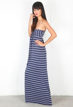 Splendid Halter Stripe Maxi Dress in Blue (navy)