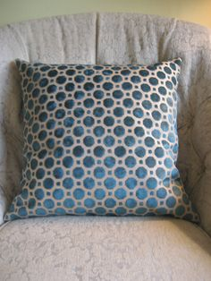 Two 18 x 18  Designer Decorative Pillow Cover - Robert Allen Geo Velvet Turquoise