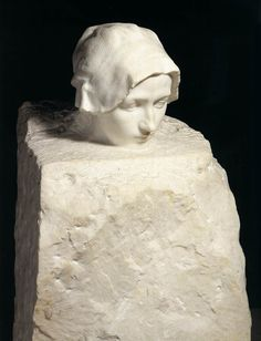 Thought (Portrait of Camille Claudel) - by Auguste RODIN, 1886-89 - Marble, height 74 cm