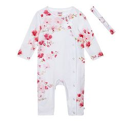 a47520631772ca Baker by Ted Baker Baby girls  pink floral print sleepsuit with a headband