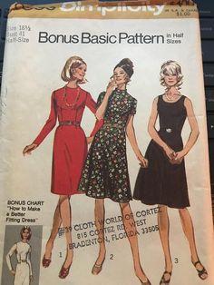 f4c6bf3935 Vintage 60s Simplicity 9550 Dress Pattern-Size 18 1 2 Dress Sewing Patterns