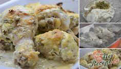 Kuřecí stehýnka marinovaná v zakysané smetaně, česneku a bylinkách | NejRecept.cz Chicken Legs, Sour Cream, Potato Salad, Mashed Potatoes, Shrimp, Garlic, Muffin, Low Carb, Herbs