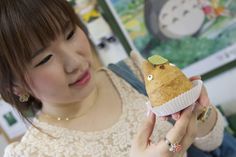 Anna-chan with a Totoro cream puff. @Suzuki Eiichi's Cream Puff Shop in Takaido