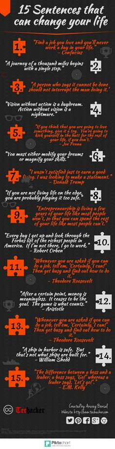 15 Sentences That Can Change Your Life quotes inspirational success motivational motivation business tips self improvement infographics entrepreneur tips on self improvement entrepreneurship entrepreneur tips tips for entrepreneur self improvement infogra Motivacional Quotes, Great Quotes, Inspirational Quotes, Motivational Stories, Uplifting Quotes, Amazing Quotes, Change Your Life Quotes, Quotes To Live By, Life Changing Quotes