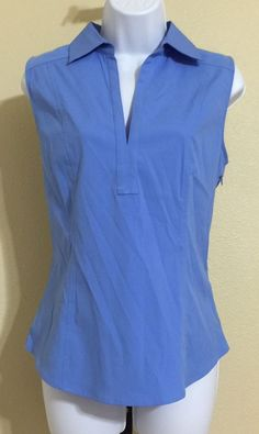 Express Stretch Women's Blue Side Zip Sleeveless Blouse Size 12 NWT #Express #Blouse #Casual