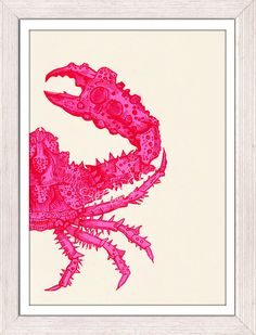 Wall decor poster -Fuchsia crab sea life print -Marine sea life illustration A4 print- Modern Crab print via Etsy. I'm in LOVE with this etsy shop!!! So affordable!