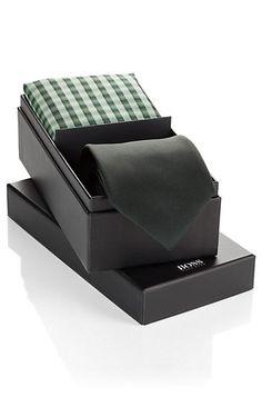 Silk gift set 'Set tie+pocketsquare', Open Green