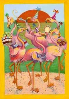 Art Print Flamingo Party Beach Silly by hoddleypoddley on Etsy, $12.00