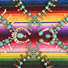 Large Turquoise Squash Blossom Necklace. The perfect Cinco De Mayo accessory! Turquoise lovers. Vintage serape. therollinj.com