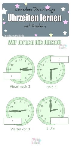 Freebie / Kostenlose Druckvorlage Uhrzeiten lernen mit Kindern, Arbeitsblätter zum Ausdrucken für Vorschule und Grundschule