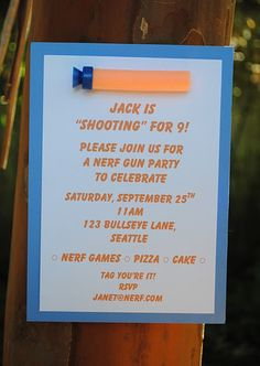 "Adorable invitation for a ""Nerf gun"" party.  #nerf #party"