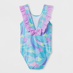 Toddler Girls' Waves One Piece Swimsuit - Cat & Jack Aqua 4T, Blue