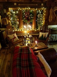 Cynthia Knight Beane ~ Our cabin in the Endless Mountains, PA. The lap blanket is Scottish wool, I purchased from Scotland with our tartan. ❤️
