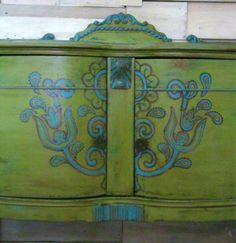 Chalk Paint Folk Art Vintage Buffet In Green And Turquoise With Hand Painted Detail on Etsy, $450.00