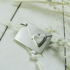 Personalized Love Letter - Artisan Handmade PMC Fine Silver Pendant, Envelope with Heart and Custom Engraving. $58.00, via Etsy.