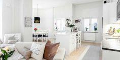 Lakás hófehérben és természetes árnyalatokkal - skandináv lakberendezés