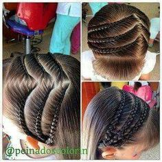 zig zag partings add something new to these braids! Lil Girl Hairstyles, Pretty Hairstyles, Braided Hairstyles, Gymnastics Hair, Natural Hair Styles, Long Hair Styles, Beautiful Braids, Toddler Hair, Hair Dos