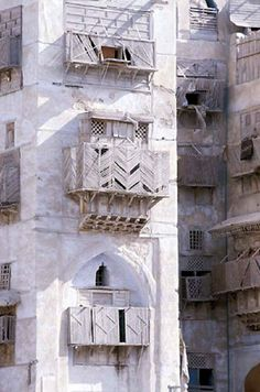 Old Jeddah, Saudi Arabia. The Old City with its traditional multistory buildings and merchant houses has lost ground to more modern developments. Nonetheless, the Old City continues to shape the identity of the Saudi culture, preserving such areas as the old heritage buildings.