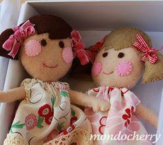 rosy cheecked wool felt dolls