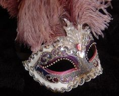 blue Masquerade Masks for Women with feathers | Venetian feather masquerade mask made by www.socaldesignco.com / Other ...