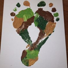 Camouflage Footprint Heart, love the multicolored idea could do red, white, and blue, pink and red, orange and black, green and red, etc.
