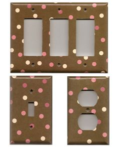 Brown Cream & Pink Neapolitan Dots Light Switchplates and Wall Outlet Covers Home Decor Accents Decora Light Switch Plates