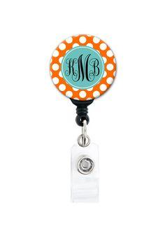 Retractable ID Badge Holder - Personalized Monogram - Orange and Blue Polka Dot on Etsy, $7.99
