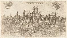 Monicho: So wehrhaft war die Stadt München – Frauenkirche (Mitte) und Alter Peter (etwas links davon) sind deutlich zu erkennen.  Foto: Bayerische Staatsbibliothek