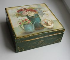 Decoupage box decorated wood jewelry box by DumontsHandicrafts