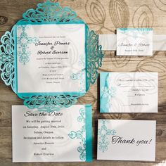 tiffany blue swirl laser cut wedding invitations EWWS115