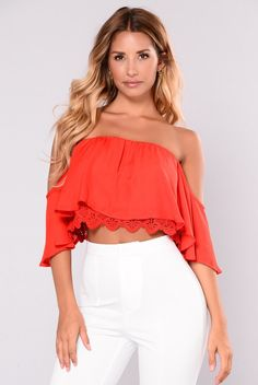 882cf008a8a607 Anabelle Off Shoulder Top - Red. White Lace Crop ...
