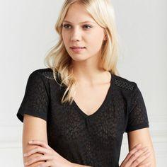 T-shirt noir micro léopard, Femme