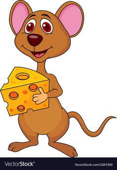 Cute mouse cartoon holding cheese vector image on VectorStock Cartoon Pics, Cartoon Characters, Fictional Characters, Clipart Gallery, Cute Mouse, Mice, Rats, Tigger, Scooby Doo