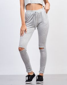 Featured: Athleisure Lookbook Lounge around in these Ripped Knee Jogger Pants! These black pants are made from a super soft french terry fabric for a lightweight and comfy feel. Features drawstring ti