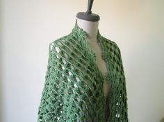Green Shawl Crochet Beautiful Triangle Scarf Wrap by filofashion, $68.00