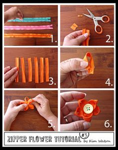 zipper flower tutorial  would look pretty making a multi color flower also