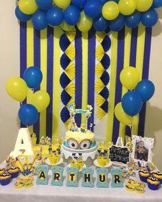 Minions Birthday Theme, Minion Theme, Boys First Birthday Party Ideas, Boy Birthday Parties, Minion Party Decorations, Simple Birthday Decorations, Krishna Birthday, First Birthdays, Evil Minions