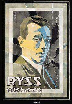 """""""Ryss Cousin de Satan"""".Lithographie en couleurs entoilée.Portrait à la vitre brisée. 140 x 95 cm.Affiches Nicolitch 7 rue Martin Marseille."""