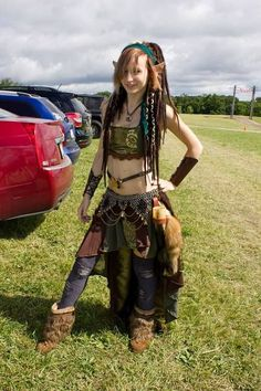 My newest Renaissance Faire outfit :D I made the skirt, top, fur belt and waist belt~ Usually I wouldn't have the fur boots or the thi...