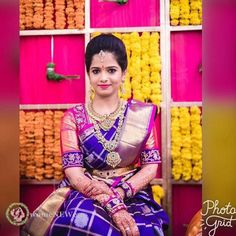 Latest Kanjeevaram Bridal sarees with contrast blouse combinations which gives an insight into trendy bridal wear Pattu Sarees Wedding, Wedding Saree Blouse Designs, Pattu Saree Blouse Designs, Saree Blouse Neck Designs, Bridal Silk Saree, South Indian Bride, Kerala Bride, Indian Bridal, Maggam Work Designs