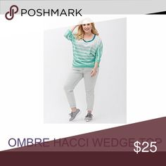 Lane Bryant Ombre Hacci Wedge Top - Sweet Mint ITEM #230811 MACHINE WASH Lane Bryant Tops Blouses