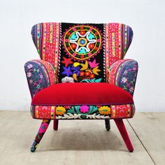 Kids Accent Chairs Retro Style Handmade Armchair Upholstered With Suzani Thai Hmong And Velvet Fabrics Beautiful Combination