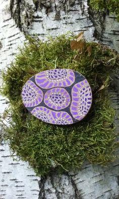 Ladies purple wooden brooch