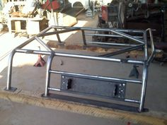 Bed Rack has plate mount for fuel cans
