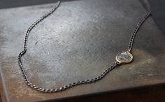 Simple Diamond Slice Necklace in 18kt Gold and Sterling Silver-  as seen on Rachel Bilson by LexLuxe on Etsy