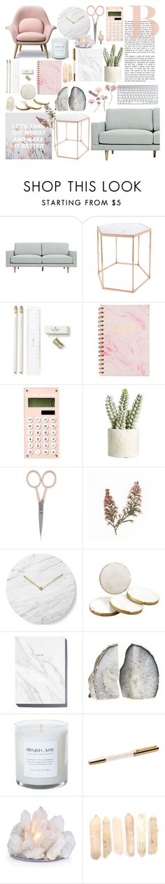 """""""blushing"""" by rsussher ❤ liked on Polyvore featuring interior, interiors, interior design, home, home decor, interior decorating, Bloomingville, Kate Spade, Allstate Floral and Anastasia Beverly Hills"""