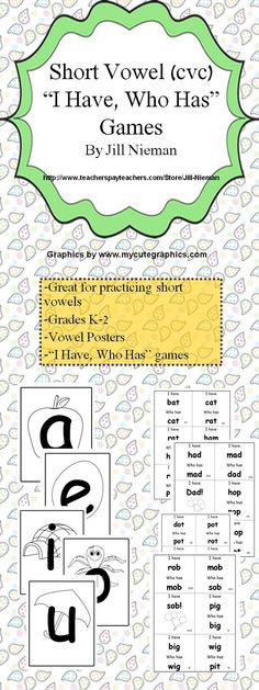 "This product is great for short vowel (cvc) practice and review.  Included are black and white vowel posters, and an ""I Have, Who Has"" game for each vowel~no blends are used. $1.50"