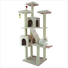 This was recommended by a friend who has lots of cats. Might be a good option, even though it doesn't look challenging. Has nice high perches, and doesn't take up as much floor space. I can build (or buy) a bird rope climbing thing...